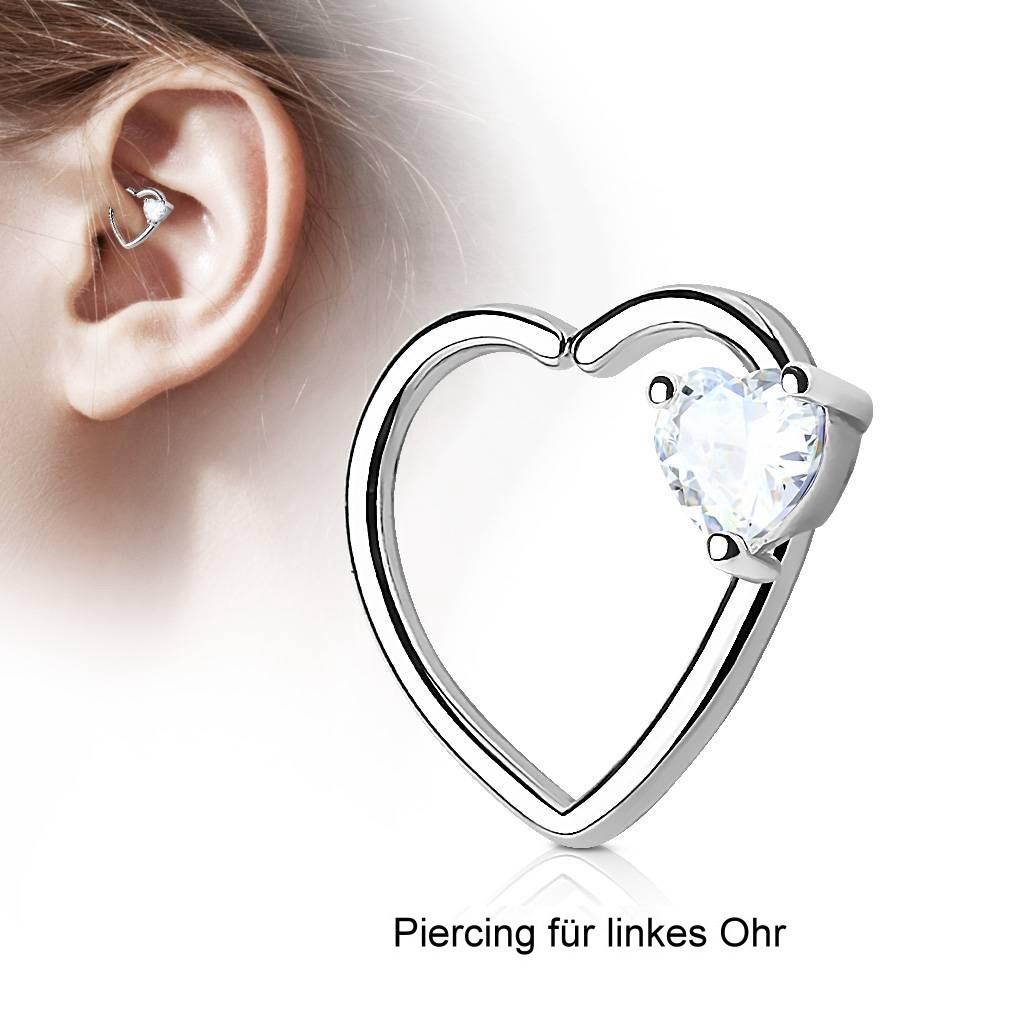 Daith Piercing mit kristall Herz