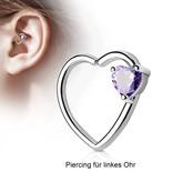 Daith Piercing mit violetten Herz