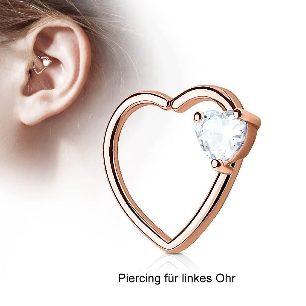 Daith Piercing rosegold mit kristall Herz