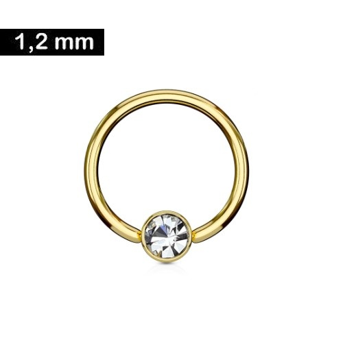 Goldfärbiger Daith Piercing Ring 1,2x10mm
