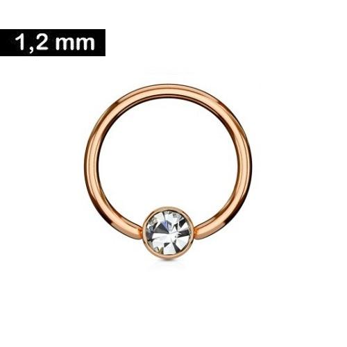 Daith Piercing Ring rosegold mit kristall Stein