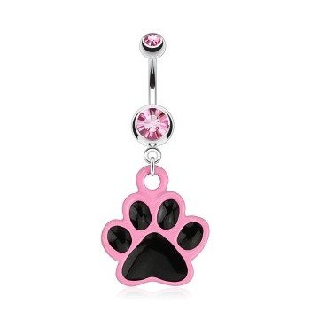 Bauchnabelpiercing Hundepfote Pink