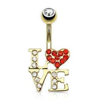 Bauchnabelpiercing LOVE goldfärbig