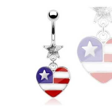 Bauchnabelpiercing USA Herz