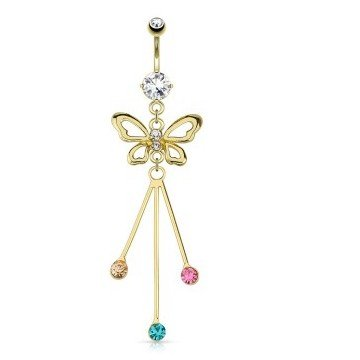 Schmetterling-Bauchnabelpiercing gold