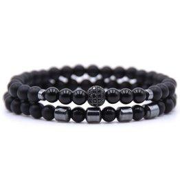 2 schwarze Achat Armbänder