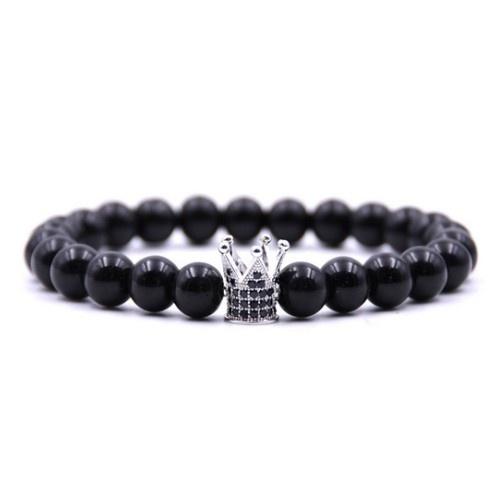 Schwarzes Achat Armband Krone