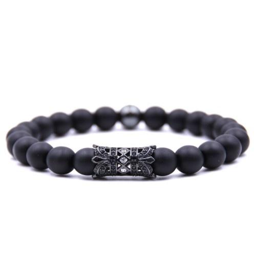Achat Perlen Armband schwarz