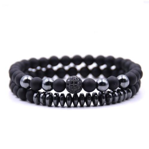 2er Set Achat Armbänder mit 6mm Perlen