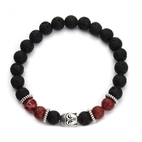 Lava Armband Buddha mit Jaspis Perlen
