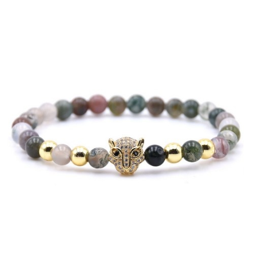 Achat Perlen Armband Leopard