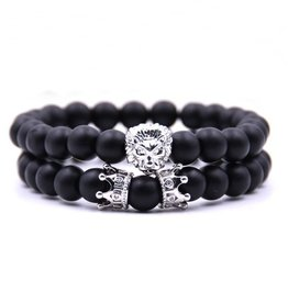 Schwarzes Achat Armband Löwe