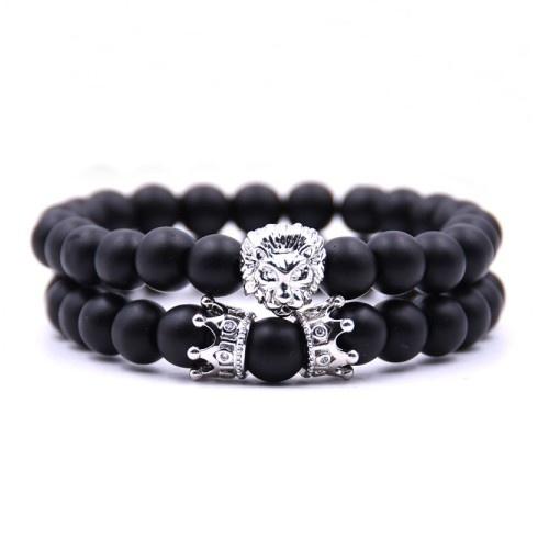 Schwarzes Achat Armband Löwe & Krone