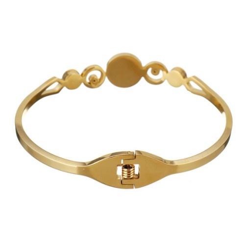 Damen Armreif Edelstahl Gold mit Kristallstein