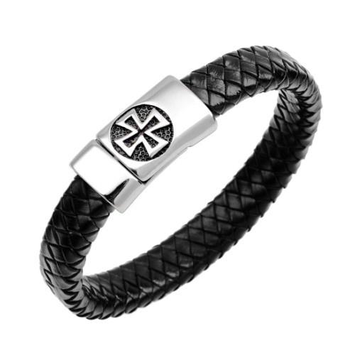 Herren Lederarmband schwarz Eisernes Kreuz