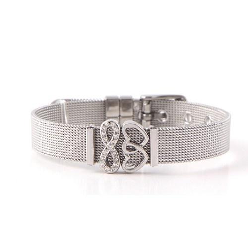 Damen Mesh Armband Edelstahl mit Herzen
