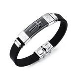 Kautschuk Armband für Herren mit Edelstahl