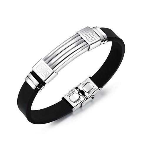 Edelstahl Kautschuk Armband für Herren
