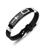 Schwarzes Kautschuk Armband mit Kreuz