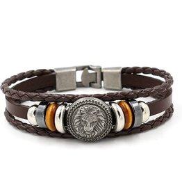 3reihiges Leder Armband Löwe
