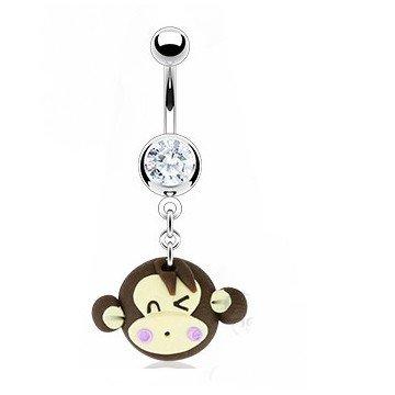 Bauchpiercing mit Affenköpfchen