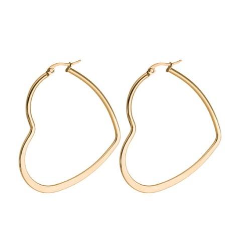 1 Paar Damen Creolen Edelstahl gold-färbig