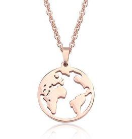Halskette Weltkugel rosegold