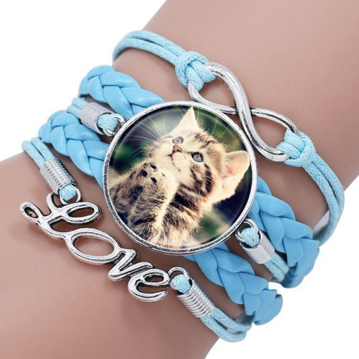 Türkises Armband Katze mit Love und Infinity