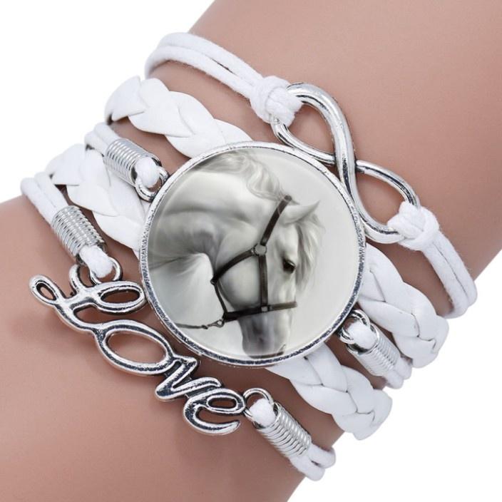 Weisses Armband Pferd mit Love und Infinity