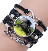 Schwarzes Damenarmband Pferd  mit Love und Unendlichkeit