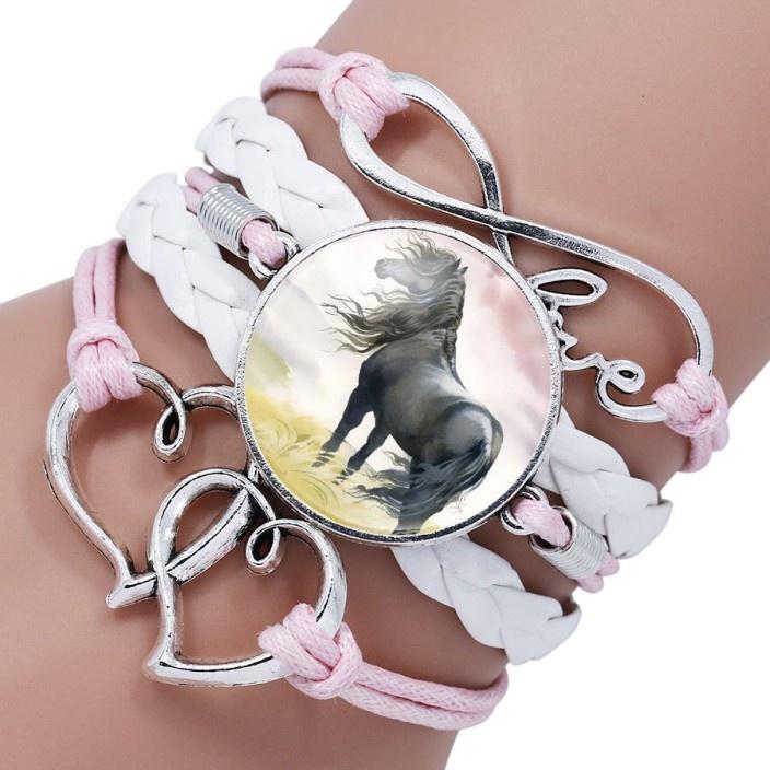 5reihiges Armband Pferd mit Herzen und Infinity