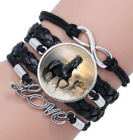 5reihiges schwarzes Armband Pferd