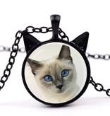 Schwarze Halskette mit Katzen Motiv
