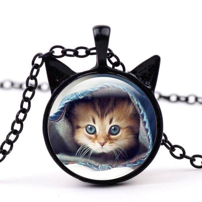 Halskette mit Katzen Motiv schwarz