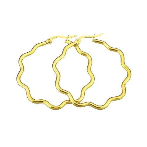 Edelstahl Creolen Blumenförmig goldfärbig