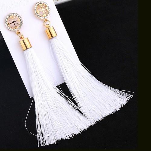 Weisse lange Tassel Ohrringe goldfärbig