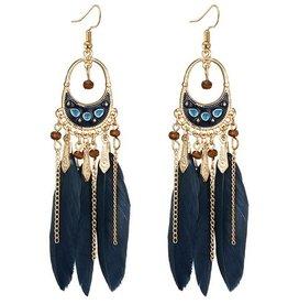 Lange Feder Ohrringe  Blau