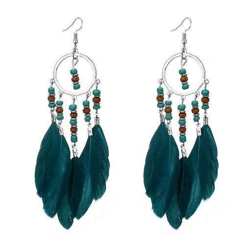 Traumfänger Ohrringe mit grüne Federn