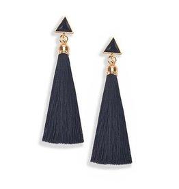 Schwarze Tassel Ohrringe lang