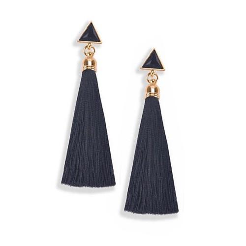 Schwarze Tassel Ohrringe 65mm lang