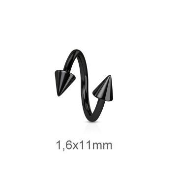 Spiralen Piercing schwarz 1,6 mm