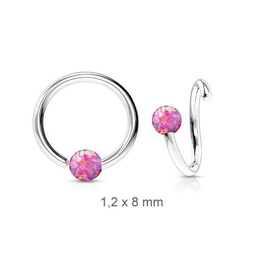1,2mm Piercing Ring mit Synthetic Opal Kugel