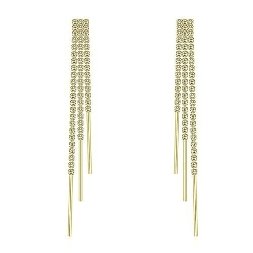 Lange Strass Ohrringe 3reihig goldfärbig