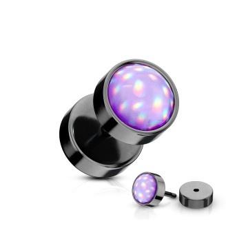 Schwarzer Fake Plug  mit Leuchtstein