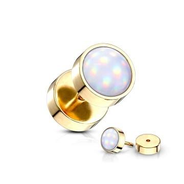 Gold-färbiger Fake Plug  mit Leuchtstein