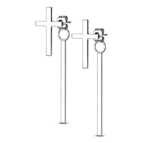 Ohrhänger aus Edelstahl Kreuz