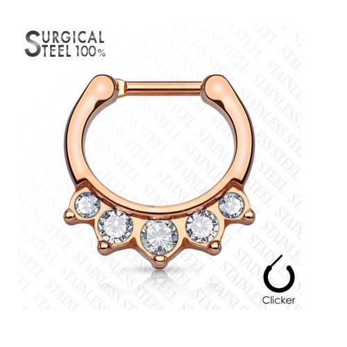 Septum Clicker rosegold mit Steinchen