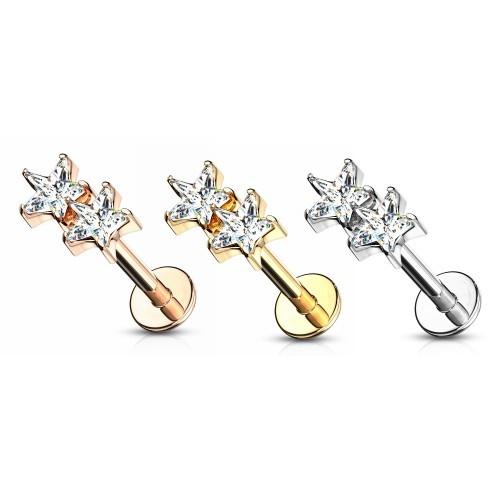Tragus Piercing zweifach Stern - 3 Farben