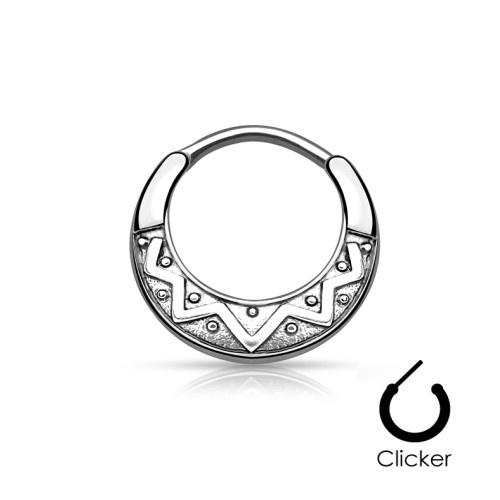 Septum Clicker Ring Tribal Schild