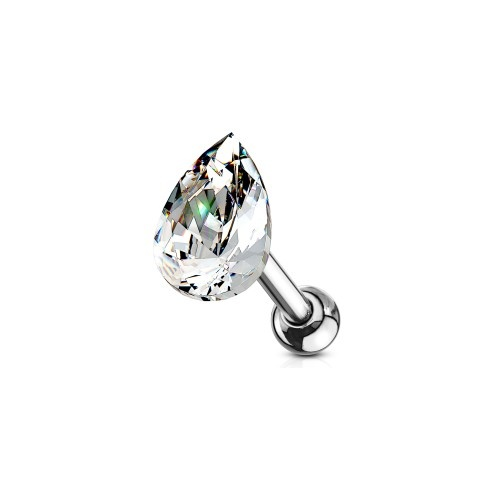 Ohr Piercing Stecker mit kristall Tropfen
